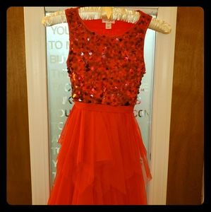 Girls Red sequin and tulle dress